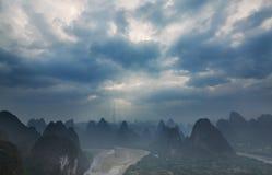 Misty sky & strange mountain Royalty Free Stock Photo