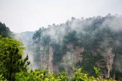 Misty steep mountain peaks - Zhangjiajie national park Royalty Free Stock Photography