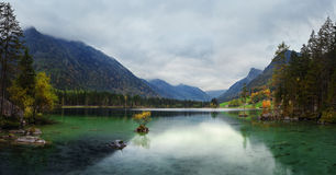 Misty summer morning on the Hintersee lake in Austrian Alps Stock Photography