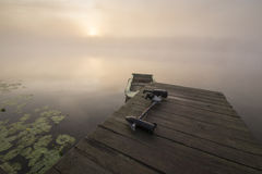 Misty summer morning on the river. Poland Stock Photo
