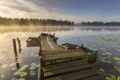 Misty summer morning on the river Royalty Free Stock Photography