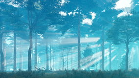 Misty sun rays in pine forest at dawn or dusk 4K. Misty pine forest basking in sunlight and sun rays shines through the trees at dawn or dusk. Panoramic shot stock illustration