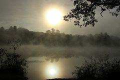 Misty Sun. The Sun was shining through the early morning mist on a small lake in New England stock images