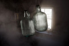 Misty sunlit bottles Royalty Free Stock Photo