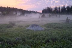 A Misty Sunrise in the Beartooth Mountains stock photos