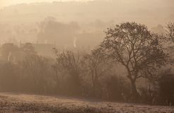 Misty sunrise at Chipping Campden, Cotswolds, Gloucestershire, England royalty free stock photos