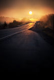 Misty Sunrise on the Highway. On my way to pick up my son from McMaster University in Hamilton, Ontario, this sunrise presented itself Royalty Free Stock Photo
