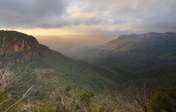 Misty Sunrise Mount Solitary Blue Mountains Stock Images