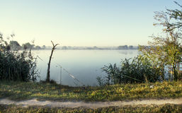 Misty sunrise over a lake summer morning Stock Images