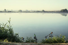 Misty sunrise over a lake summer morning Royalty Free Stock Images