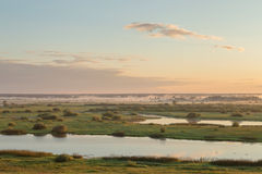 Misty sunrise over a river and a field of grass with path on it Royalty Free Stock Photo