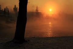 Misty sunrise in Prague Royalty Free Stock Images