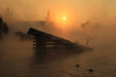 Misty sunrise in Prague Royalty Free Stock Photography