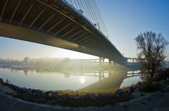 Misty sunrise on a river bank under cable bridge Royalty Free Stock Photos