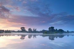 Misty sunrise on river Royalty Free Stock Photo