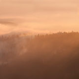 Misty Sunset Stockbild