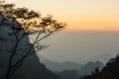 Misty sunset dawn with sunrays over the rainforest. Royalty Free Stock Photos