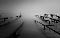 Misty sunset near Ravda in black and white. And long exposure royalty free stock image