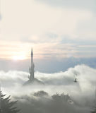 Misty tower 2016b Stock Image