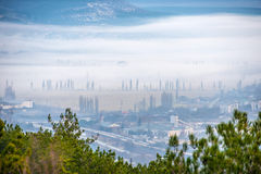 Misty town Stock Images