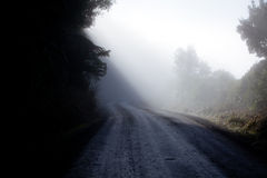 Misty track. Country road disappearing in the misty smog Royalty Free Stock Photography
