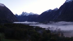 Misty valley in Norway stock footage