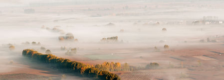 Misty valley panorama Royalty Free Stock Images