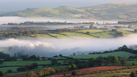 Misty valley in the western Brecon Beacons National Park stock footage