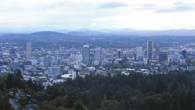 Misty view of Portland, Oregon city center stock images