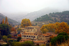 Misty Village. Scala Dei (Priorat, Catalonia Royalty Free Stock Image
