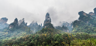 Misty viwe of mountain range in Hunan, China Stock Photography