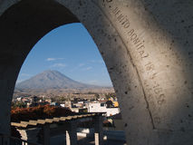 Misty Volcano at Arequipa, Peru. Misty Volcano view from Yanahuara distrit at Arequipa, Peru Stock Images