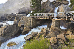 Misty Wapama Falls and Bridge Stock Images