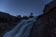 Misty Waterfall Long Exposure Early Night View With Stars On Clear Sky, Altai Mountains Highland Nature Autumn Landscape Stock Photos