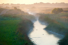 Misty waterway. Early morning on a mist shrouded river with birds swimming on the surface Royalty Free Stock Image