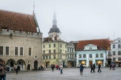 Misty winter old town Tallinn. Stock Images