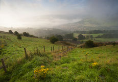 Misty yorkshire dales valley in autumn Stock Photos