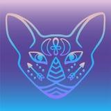 Mistyczna kot twarz z ezoterycznego hieroglificznego symbolu Egipskiego kota twarzy wektoru Świętym zwierzęciem antycznego Egipt  ilustracja wektor