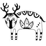 Mistyczni śliczni mali rogacze Tajemnicza lasowa poci?gany r?cznie kreskowa sztuka royalty ilustracja