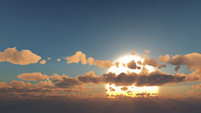 Mistyczny słońce i chmury Obraz Royalty Free
