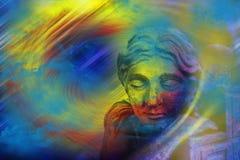 Mistyczny Z przykrością doniosły anioł Zdjęcia Stock