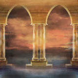 MistyOceanandArchwaysBackground Imagem de Stock Royalty Free