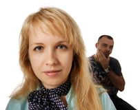 Misunderstanding. A man did not understand a woman Royalty Free Stock Image
