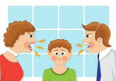 Misunderstanding and conflict of generations in the family. Parents scream and scold the child. The child was crying and upset. The conflict of generations and Royalty Free Stock Photos