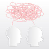 Misunderstanding. Man and woman head shapes with knot Royalty Free Stock Photo