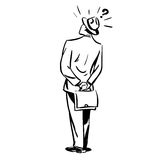 Misunderstanding questions businessman standing. With his back line art sketch Royalty Free Stock Images