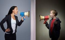 Misunderstandings between parents and children Stock Photo