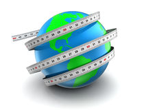 Misura del globo 3d della terra Fotografie Stock Libere da Diritti
