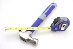 Misura di nastro del martello Immagini Stock