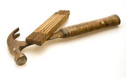 Misura di nastro e del martello Fotografia Stock